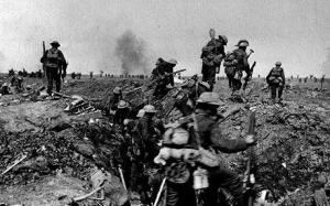 British Tommies going over the top at the Somme